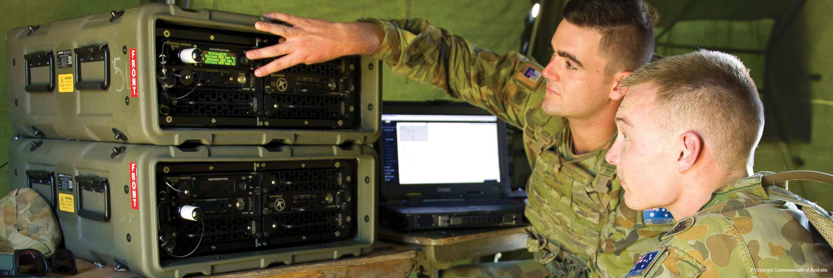 Soldiers with communication equipment